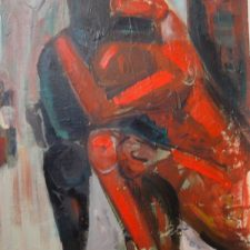 Red and Black 2005, oil on canvas, 20 cm x 32.5 cm x 4.5 cm unframed